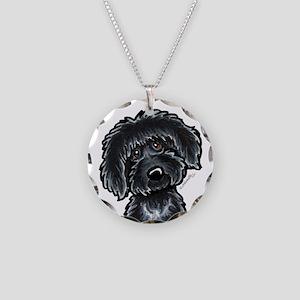 Black Labradoodle Funny Necklace Circle Charm