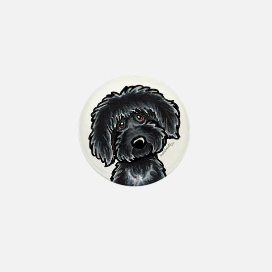 Black Labradoodle Funny Mini Button