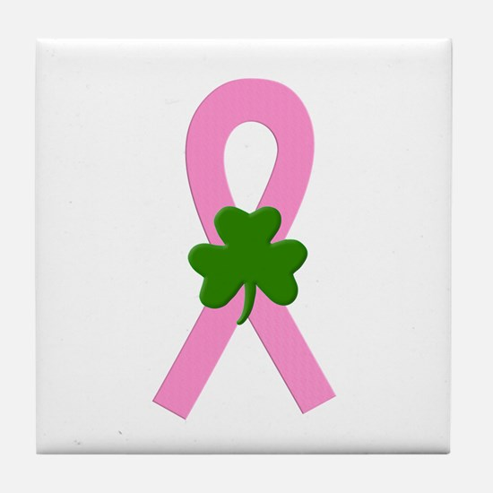 Pink Shamrock Ribbon Tile Coaster