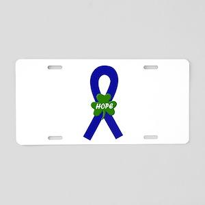 Blue Shamrock Ribbon Aluminum License Plate