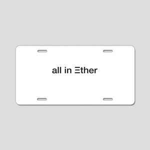 Ether ETH Crypto Currrency Aluminum License Plate