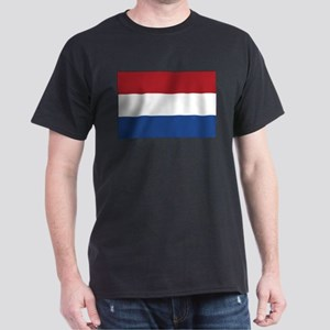 Netherlands Flag Black T-Shirt