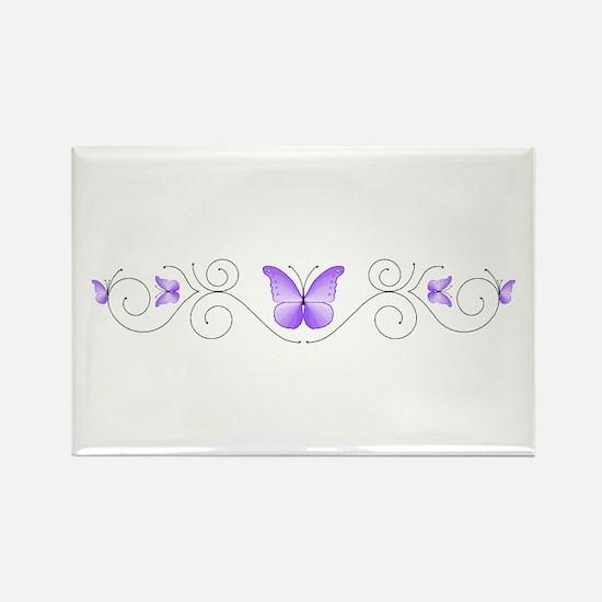 Purple Butterflies Rectangle Magnet