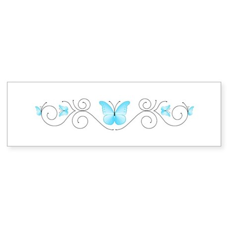 Turquoise Butterflies Bumper Sticker - 50 Pack
