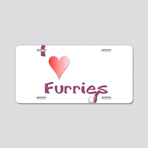 I love Furries! - Red Aluminum License Plate