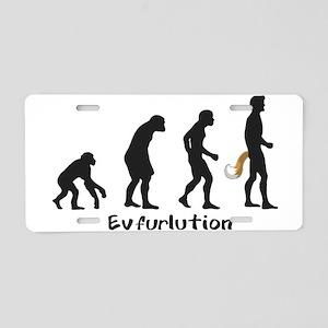 Evfurlution - Black Txt Aluminum License Plate