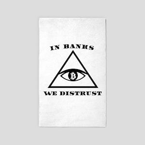 In Banks We Distrust (Bitcoin Design) Area Rug