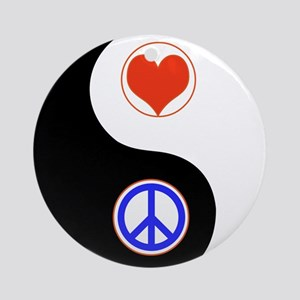 Ying Yang Peace Love Ornament (Round)