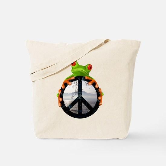 Cute Peace frog Tote Bag