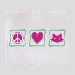 Peace, Love and Kitties Throw Blanket