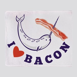 narwhal whale bacon Throw Blanket