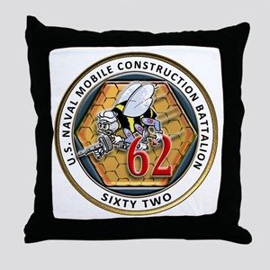USNMCB-62 Navy Seabees Throw Pillow