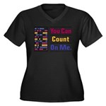 Count on Me Women's Plus Size V-Neck Dark T-Shirt