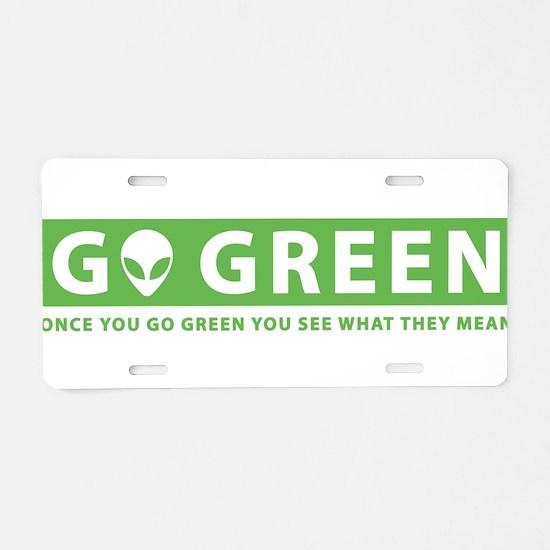 Go Green Alien Aluminum License Plate