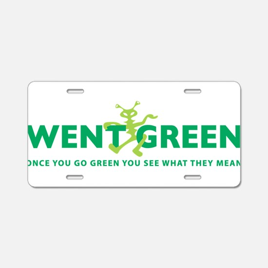 Went Green Alien Aluminum License Plate