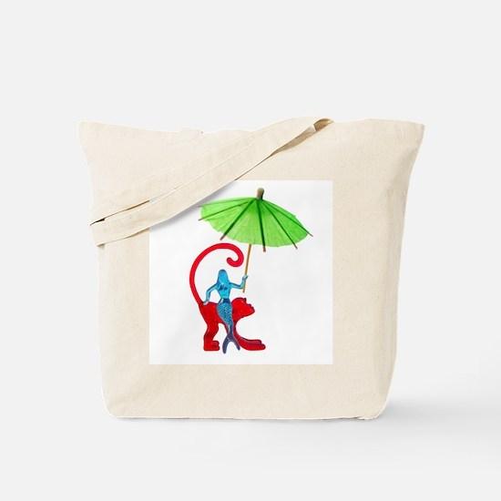 Cocktail Mermaid Monkey Tote Bag