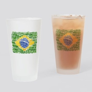Textual Brasil Drinking Glass