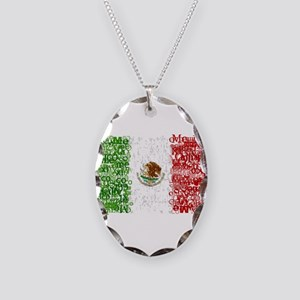 Textual Mexico Necklace Oval Charm