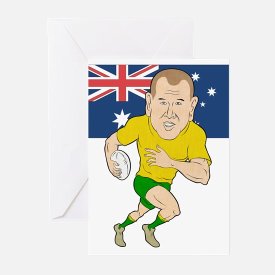 Rugby Player Australia Greeting Cards (Pk of 10)