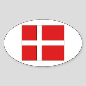 Denmark (Dannebrog) Flag Oval Sticker