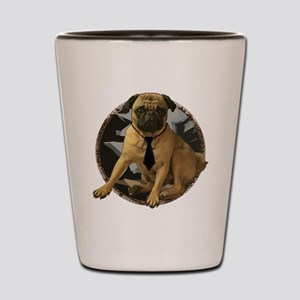 Pug in tie Shot Glass