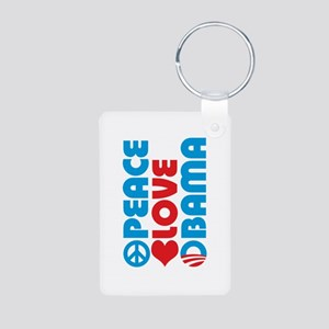 Peace Love Obama Aluminum Photo Keychain