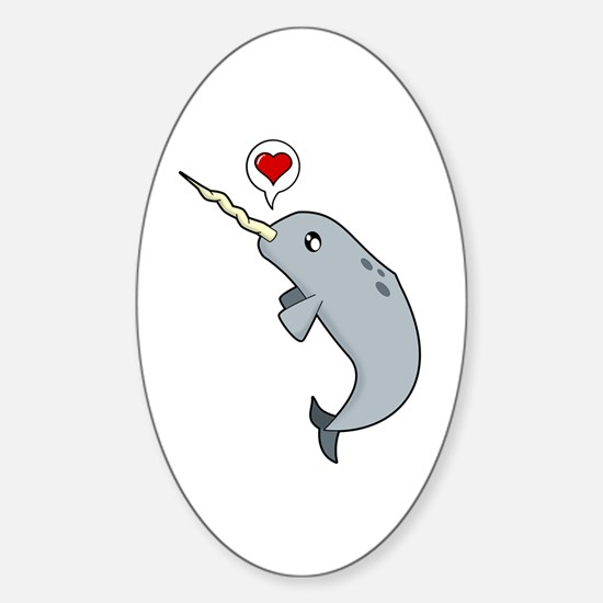 Narwhal Love Sticker (Oval)