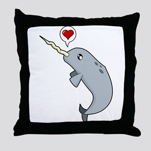 Narwhal Love Throw Pillow
