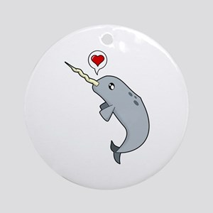 Narwhal Love Ornament (Round)