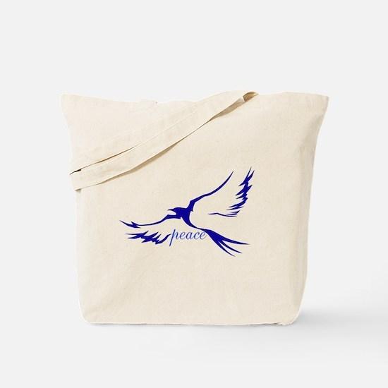 Winged Peace Blue Tote Bag