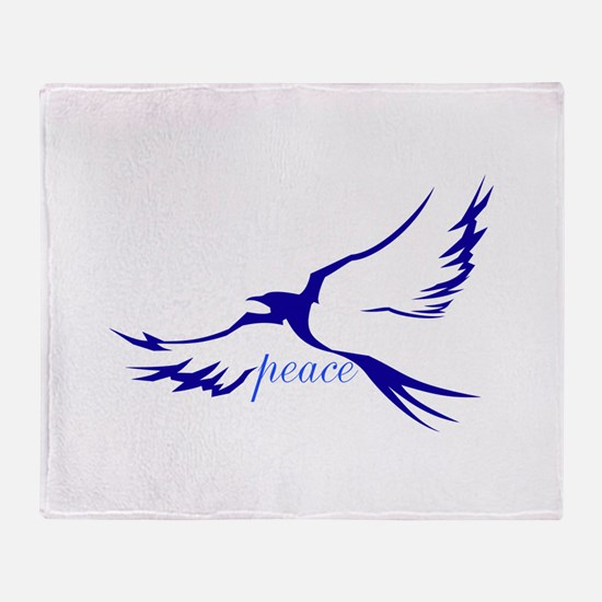Winged Peace Blue Throw Blanket