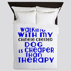 Walking With My Chinese Crested Dog Queen Duvet