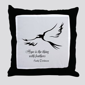 Feathered Hope Silver Throw Pillow