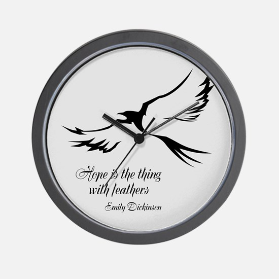 Feathered Hope Silver Wall Clock