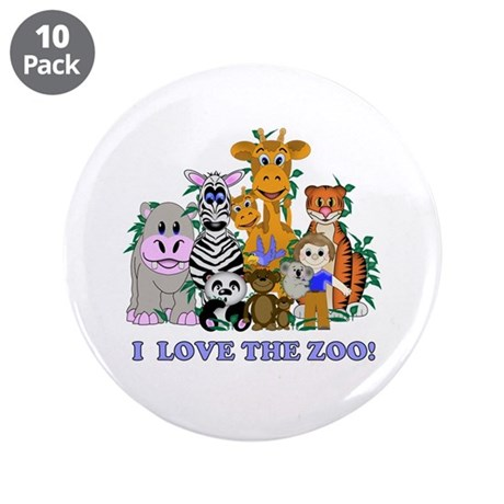 """I love the Zoo 3.5"""" Button (10 pack)"""