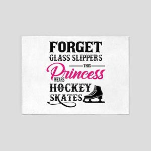 Forget Princess Hockey Skates desig 5'x7'Area Rug