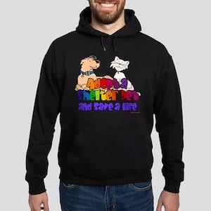 Adopt Shelter Pet (Rainbow) Hoodie (dark)
