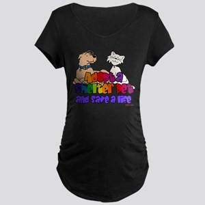 Adopt Shelter Pet (Rainbow) Maternity Dark T-Shirt