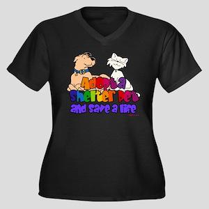 Adopt Shelter Pet (Rainbow) Women's Plus Size V-Ne