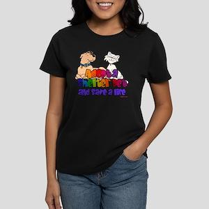 Adopt Shelter Pet (Rainbow) Women's Dark T-Shirt