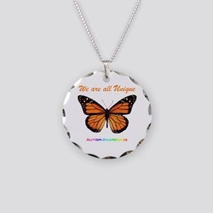 Butterfly: Autism Awareness Necklace Circle Charm