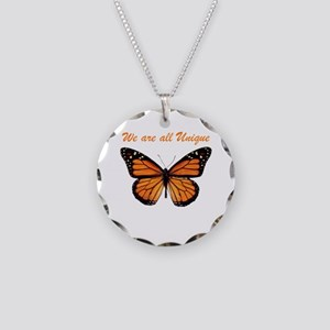 We Are All Unique: Butterfly Necklace Circle Charm