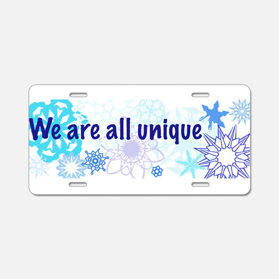 Snowflakes Collage Aluminum License Plate