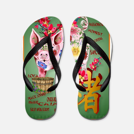 Year Of The Pig In Flowers Flip Flops