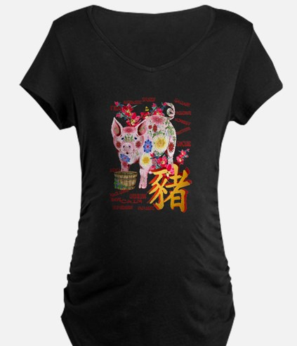 Year Of The Pig In Flowers T-Shirt