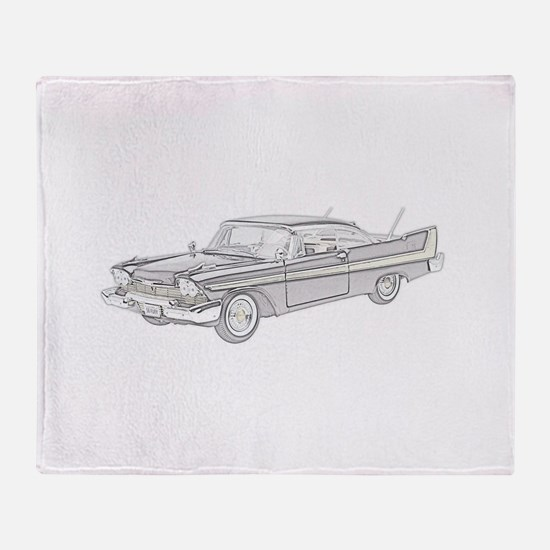 Plymouth Fury 1958 -colored Throw Blanket