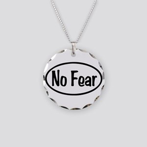 No Fear Oval Necklace Circle Charm