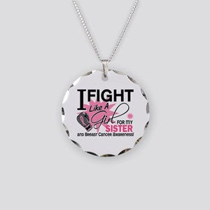 Fight Like A Girl Breast Cancer Necklace Circle Ch