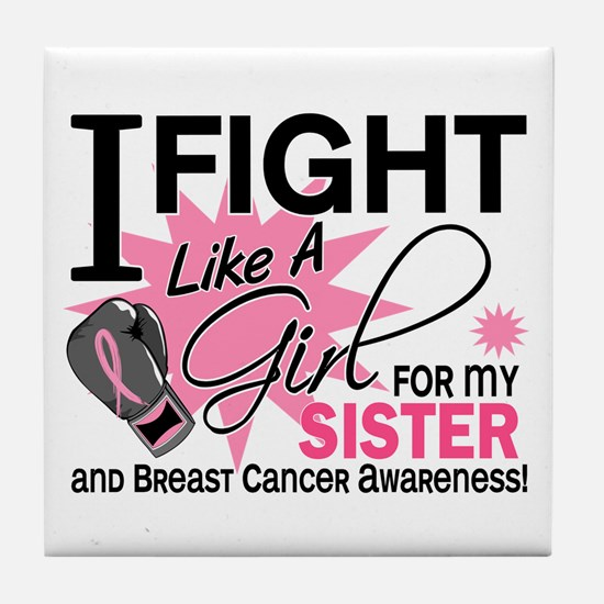 Fight Like A Girl Breast Cancer Tile Coaster