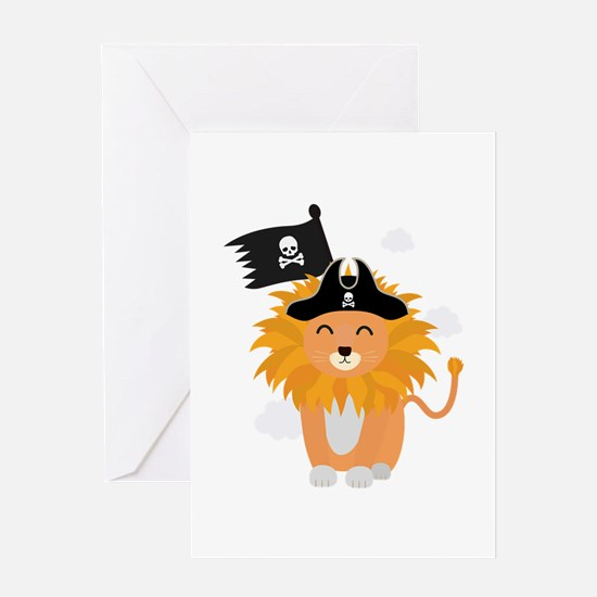 Lion Pirate Captain C1p85 Greeting Cards